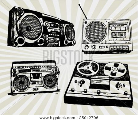 Some Hand Drawn Retro Tape Recorders