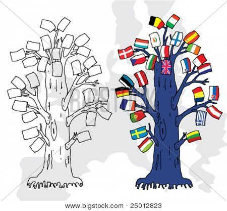 Hand Drawn Illustration on European Union