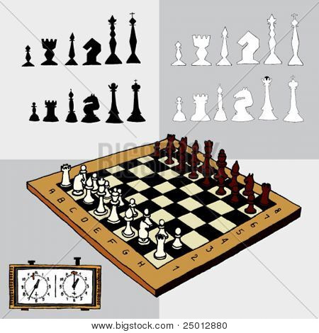 Hand Drawn Illustration of Chess Elements