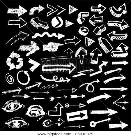 Big Set of Doodled Arrows Negative
