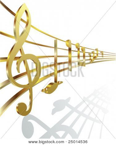 golden musical notes