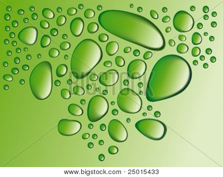 Drops on a green glass surface