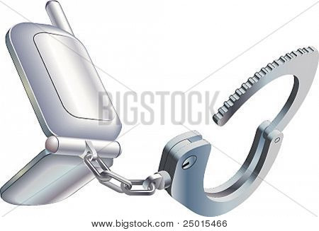 Handcuff-mobile. A mobile phone chained with a handcuff.