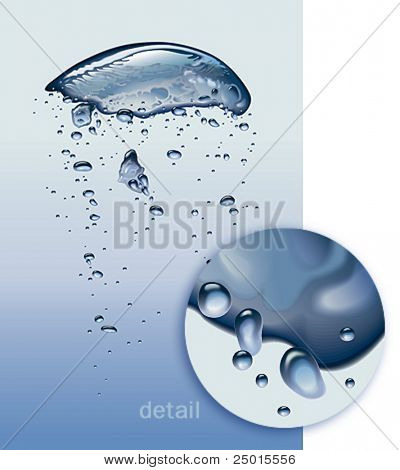 Air bubbles vibrating in light blue water