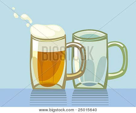 Two beer glasses. One glass is full of frothed up beer.