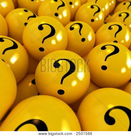 Yellow Spheres With Question Marks
