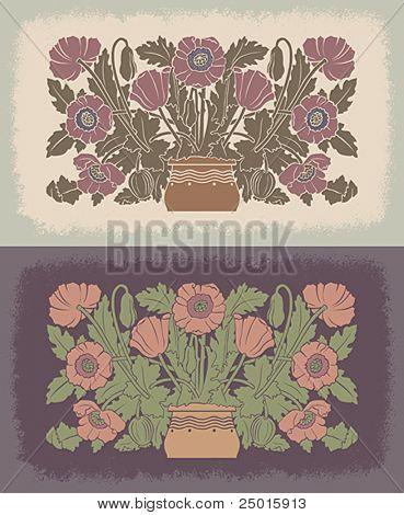 Poppies in a flowerpot. Decorative pattern.