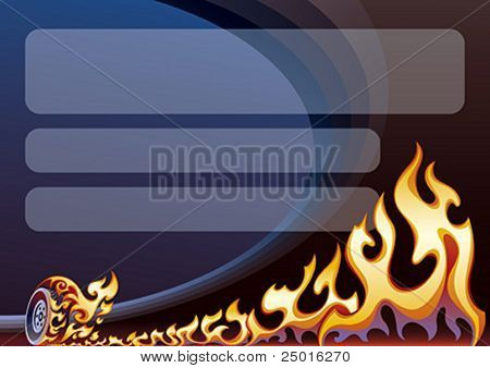 Background design with a flaming wheel on a sports arena