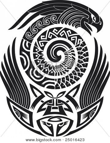 Tribal tattoo pattern. Fit for a shoulder. Vector illustration.