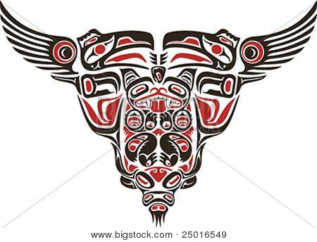 Haida style tattoo design created with animal images.