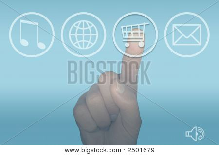Computer Touch Screen Menu And Hand
