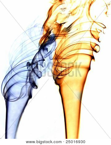 Blue And Gold Spiral Smoke