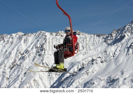 Skier On Ski Lift