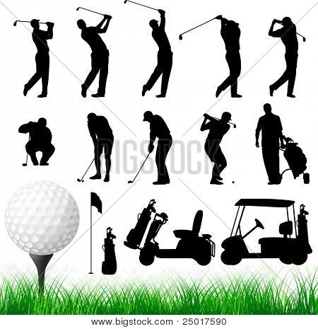 Vector Golfer Silhouettes.