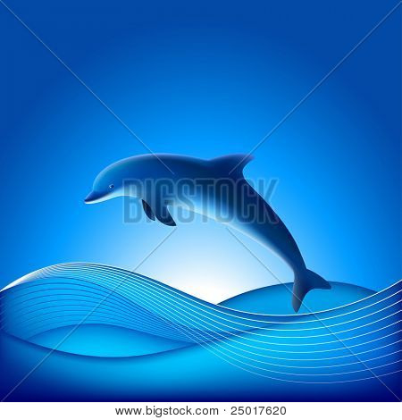 Vector Dolphin. File contains Gradient mesh