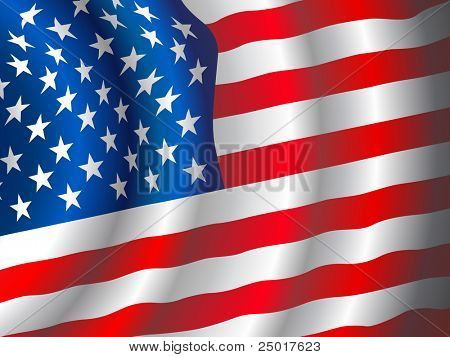 VECTOR American flag waving in the wind.