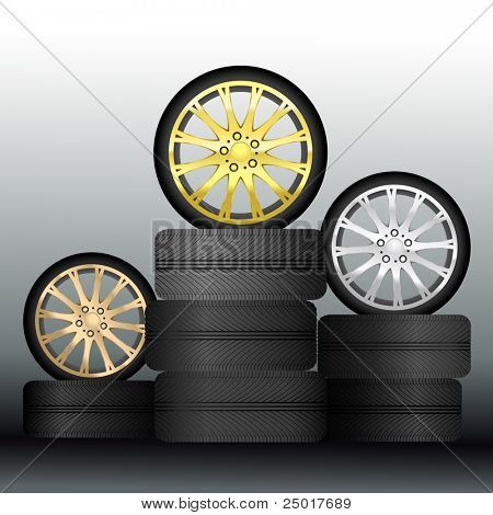 Wheel Medals - Vector (Easy Change Colors, Only Gradient Used)