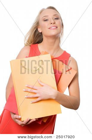 Image of lovely woman with shopping bags