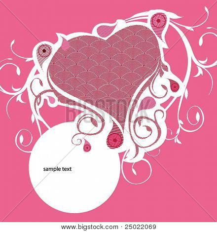 decorative hart with floral elements -pink