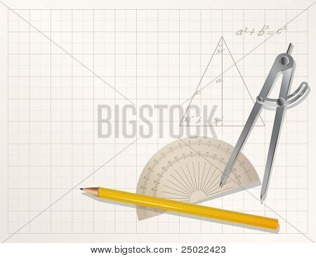 vector drawing tools - pencil, protractor, divider