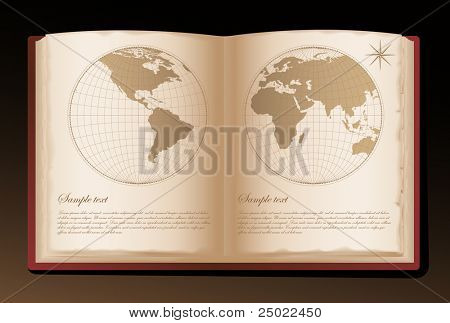 old atlas book with space for text - vector