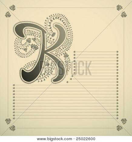 ornamental letter - K - vector