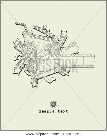 load the movie - vector - line drawing