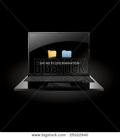 say no to discrimination- windows and mac OS X folder face to face- vector