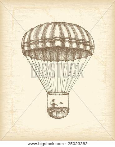 Bosquejo de paracaídas Vintage