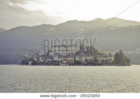 View of the Island of San Giulio on Lake Orta in Italy