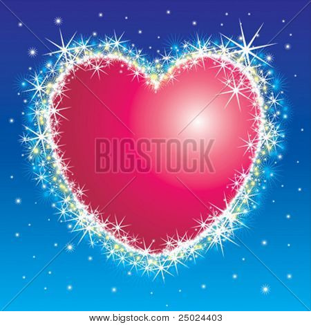 Shiny shiny star burst heart frame