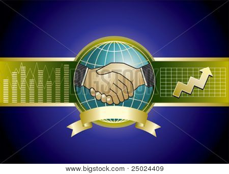 design of two businessmen handshaking and background