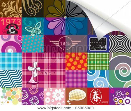 Retro pattern and corner paper roll(can delete)  design, vector layered.