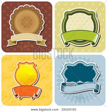 Set of products labels design, vector layered. No gradient fill.