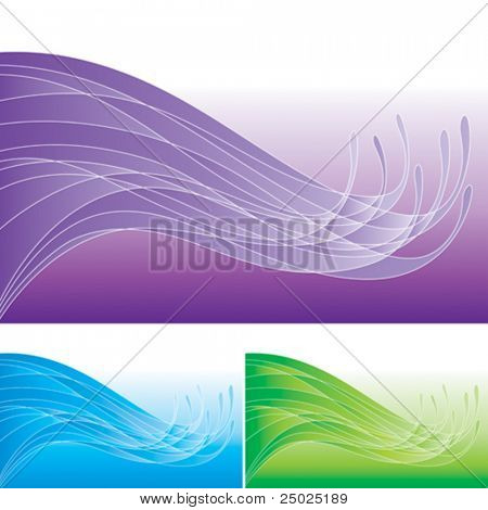 Set of abstract wave pattern. Vector layered.