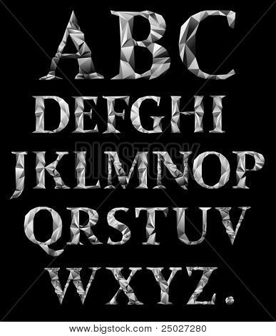Metal crystal alphabet. See more in my portfolio