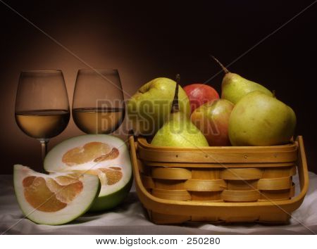 Still Life With Wine And Fruits
