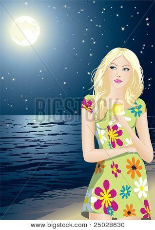 The young beautiful girl enjoys a starlit night