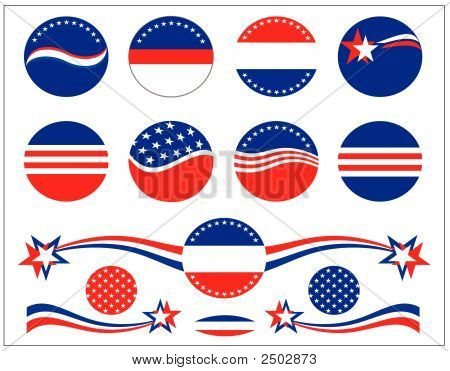 Patriotic Buttons And Decorations