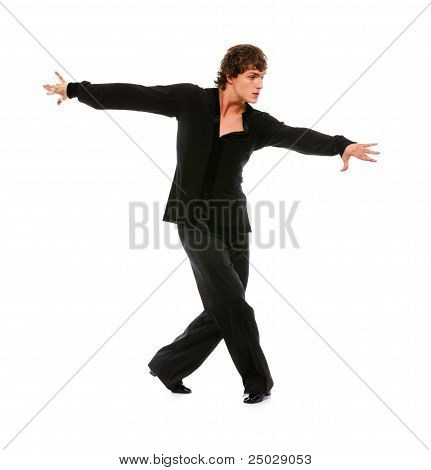 Handsome Latino Dancer In Action Isolated On White