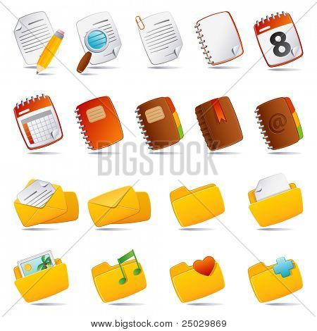 Vector illustration - documents, mail and and folder icon set