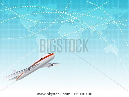 Vector illustration - aircraft  at the blue world map