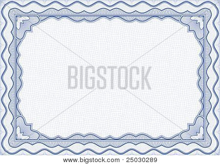 Vector illustration - blue certificate template