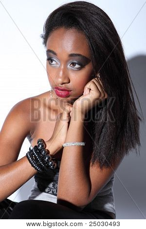 Beautiful African American Woman Glamour Make Up