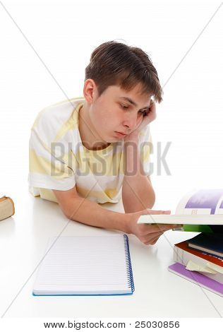 Boy Reading Studying Textbooks
