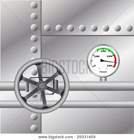 Industrial Metal Background with Pressure Clock