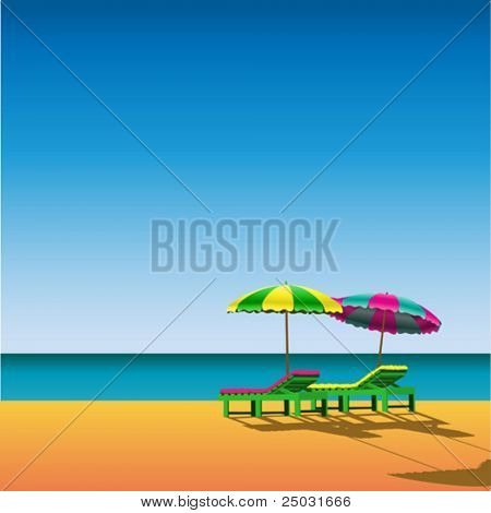 Two Sunloungers and Parasols on a Beach