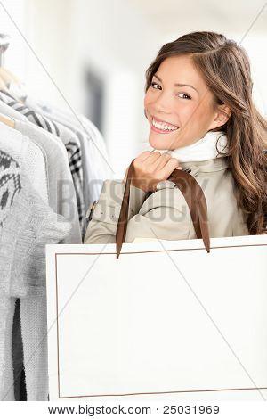 Shopper Woman Showing Shopping Bag
