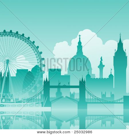 A Blue Vector Cityscape of London