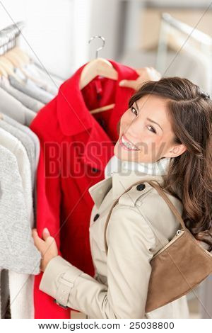 Shopping Woman In Clothes Shop